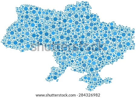 Decorative map of Ukraine in a mosaic of blue bubbles - stock vector
