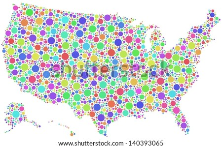 Decorative map of USA - America - in a mosaic of harlequin circles. A number of 3064 colored circles are accurately inserted into the mosaic. White background.