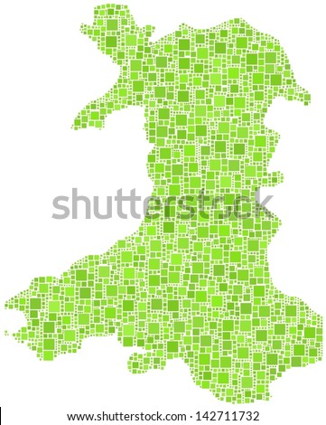 Decorative map of Wales - UK - in a mosaic of green squares