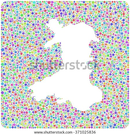Decorative map of Wales - UK - into a square colored icon - stock vector