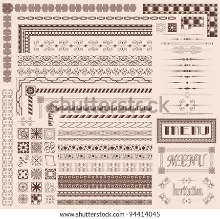 Decorative menu and invitation border elements - stock vector