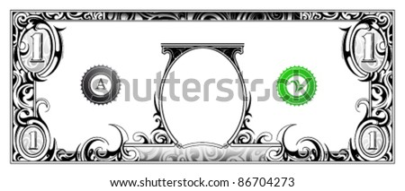 Decorative money banknote based on one dollar bill - stock vector