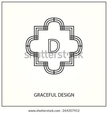 Decorative monogram. Design element with space for text. Vector illustration. - stock vector