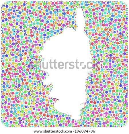 Decorative Mosaic of Corse - France - in a mosaic of harlequin circles. - stock vector
