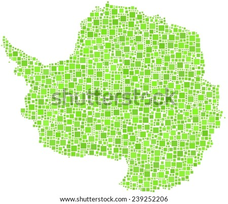 Decorative mosaic of the Antarctica continent in a mosaic of green squares - stock vector