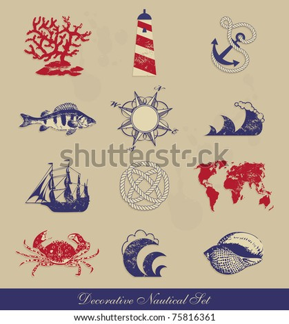 Decorative Nautical Set - stock vector