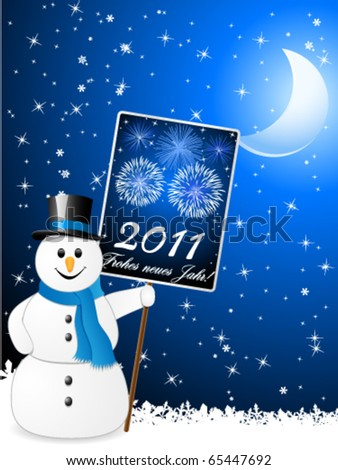 Decorative New year card with snowman - stock vector