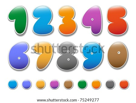 Decorative numbers for children's magazines - stock vector