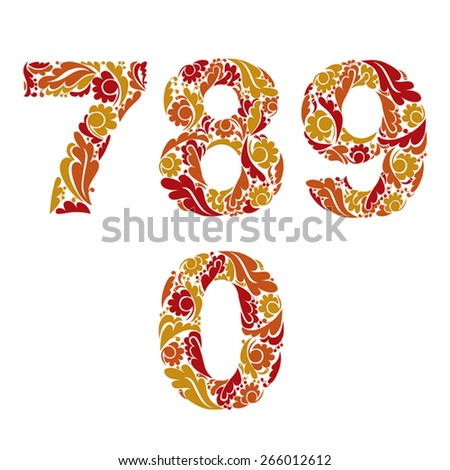 Decorative numerals with natural orange pattern. Flowery digits, calligraphic numbers. - stock vector