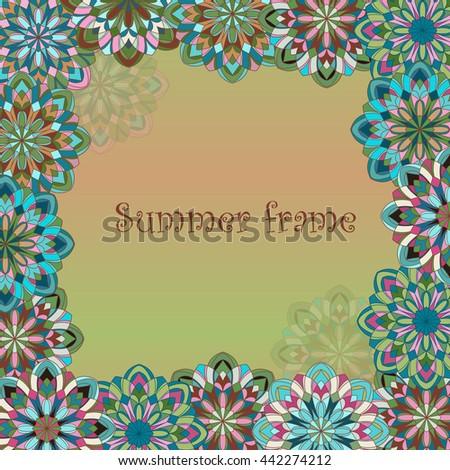 Decorative original hand-drawn frame. Original vintage frame template, background design. Hand drawn frame with colorful mandalas  - stock vector