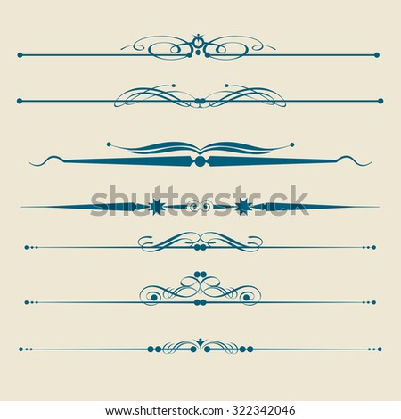 Decorative Ornament Borders, Dividers,Vintage, Decorative vector dividers, Calligraphic Design Elements, Page Dividers - stock vector