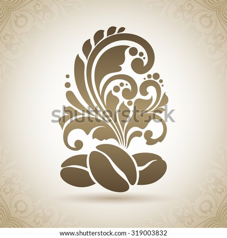 Decorative ornamental coffee beans and floral design elements. Coffee  symbol icon design element logo coffee shop, cafe. Illustration for banner, poster, business sign, identity, branding - stock vector