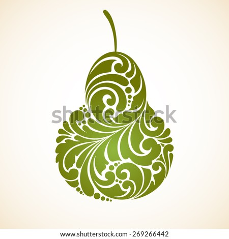 Decorative ornamental green pear. Vector abstract illustration logo design element - stock vector