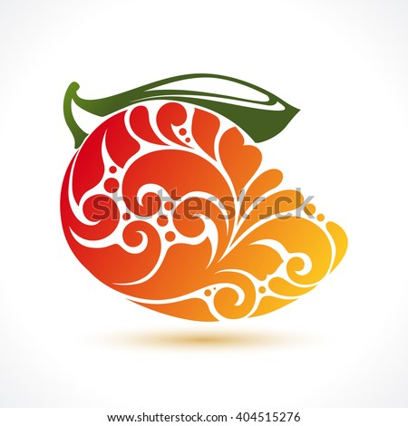 Decorative ornamental mango isolated on white. Vector abstract mango illustration logo design element for packaging design, banner, poster, business sign, identity, branding