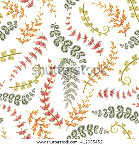 Decorative ornamental seamless spring pattern. Endless elegant texture with red orange gray leaves. Tempate for design fabric, backgrounds, wrapping paper, package, covers