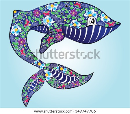 Decorative ornamental whale drawing on sky background with blue belly. Boho style.