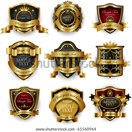 Decorative ornate golden frame - stock vector