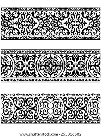 Decorative ornate vintage borders or elements for frames with intricate calligraphic ornament - stock vector