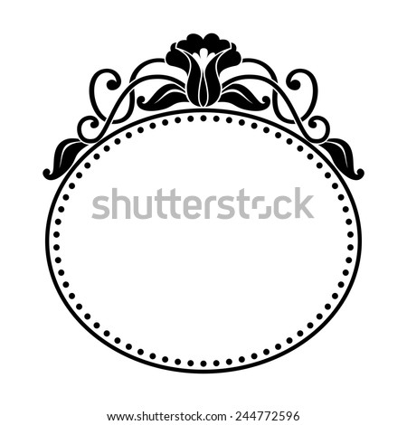 decorative oval frame with floral pattern - stock vector