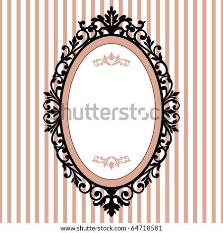 Decorative oval vintage frame - stock vector