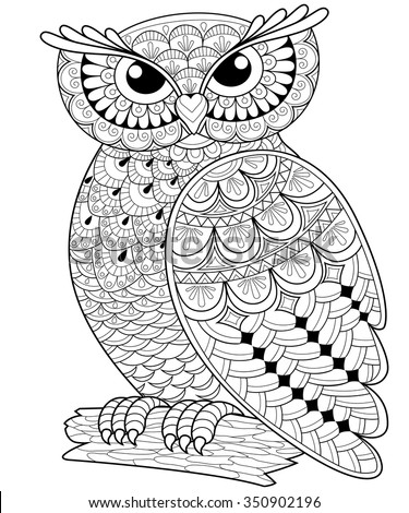 Decorative Owl Adult Antistress Coloring Page Black And White Hand Drawn Illustration For