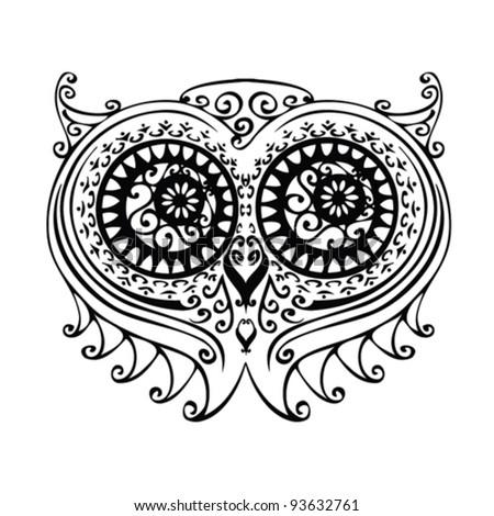 decorative owl illustration - free hand drawing - stock vector