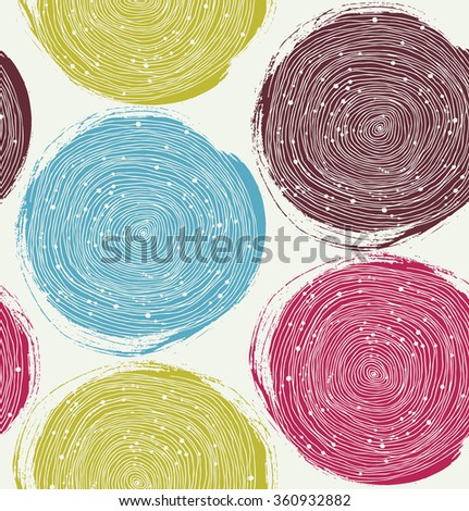 Decorative paint pattern. Vector seamless texture with drawn circles - stock vector