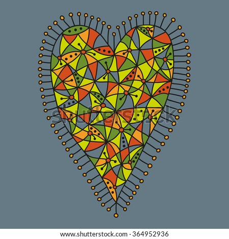 Decorative patchwork heart with a colorful pattern on a grey background. Vector illustration