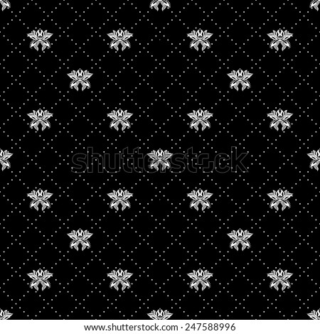 Decorative pattern with ornamental flowers. Vector flourishes background. Black and white ornament. - stock vector