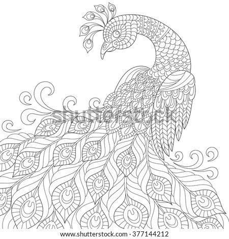 adult anti stress coloring page black and white hand drawn doodle - Stress Coloring