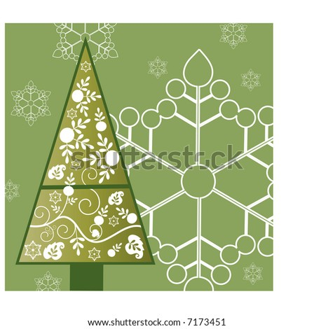 decorative pine christmas tree - stock vector