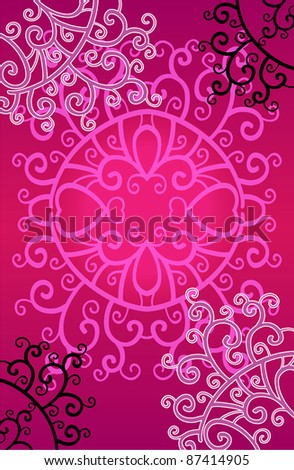 decorative pink background card - stock vector