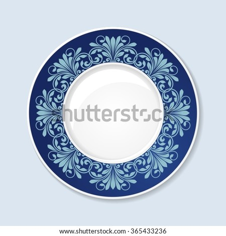 Decorative plate with floral ornament. - stock vector