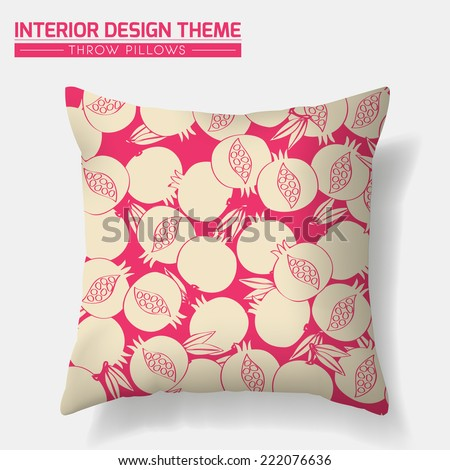 Decorative Pomegranate Throw Pillow design template in cream. Original Pomegranate pattern is masked. Modern interior design element. Creative Sofa Toss Pillow. Vector design is layered, editable  - stock vector