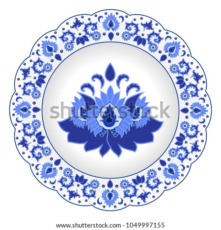 Decorative porcelain plate ornate in traditional Russian style Gzhel. Isolated white plate with blue floral  sc 1 st  Shutterstock & Decorative Porcelain Plate Ornate Traditional Russian Stock Photo ...