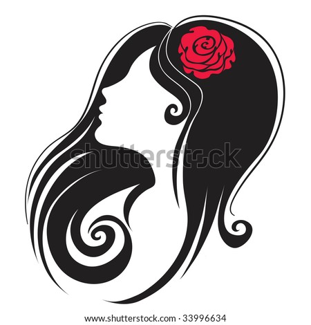 "Decorative  portrait of woman with flower in the hair (From my big ""Vintage woman collection "") - stock vector"