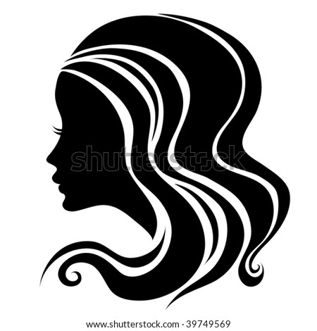 """Decorative portrait of woman with long hair (From my big """"Vintage woman collection """") - stock vector"""