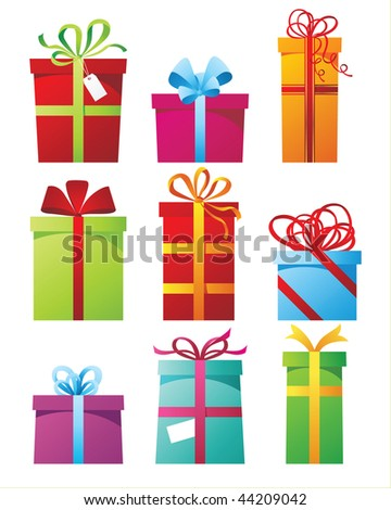 decorative presents collection - stock vector