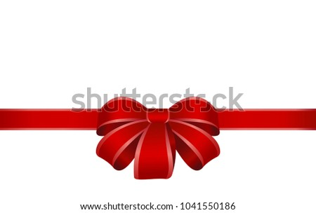 Decorative red bow with horizontal red ribbons isolated on white. Vector red gift bow with  ribbon for page decor. New year holiday decorations