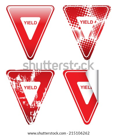 Decorative Red Yield Signs - stock vector