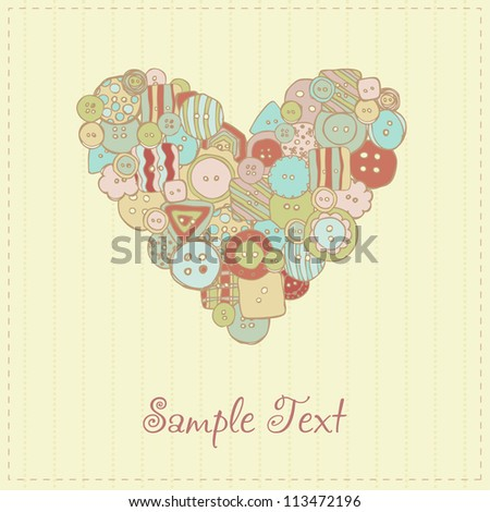 Decorative romantic greeting card with heart. Romantic illustrated text background with buttons and heart