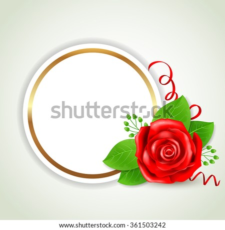 Decorative round banner with red rose and green leaves