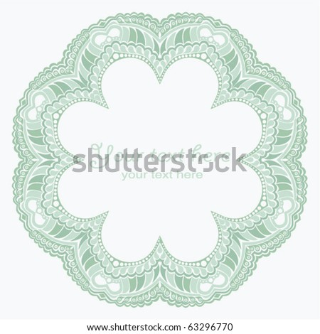 Decorative round frame in winter colors - stock vector