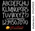 Decorative scary style alphabet, Halloween theme font - stock vector