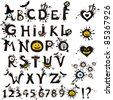 Decorative scary style alphabet, Halloween theme font. Vector Illustration - stock vector