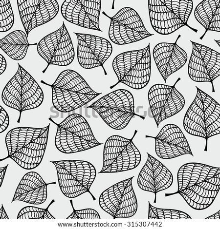 Decorative seamless black and white pattern with autumn leaves. Endless repeated texture. Template for design textile, backgrounds, wrappers, wallpaper. - stock vector