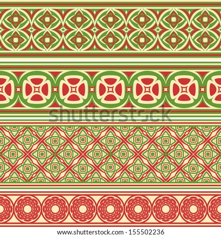Decorative seamless borders. Set from four different ornaments.