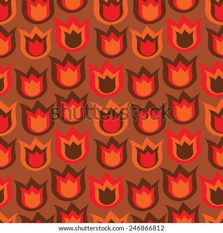 decorative seamless folk pattern in red colors - stock vector