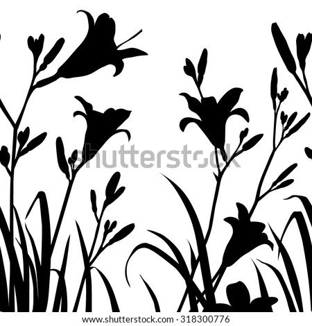 Decorative seamless lily silhouette - stock vector