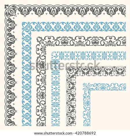 Decorative seamless ornamental border with corner - stock vector
